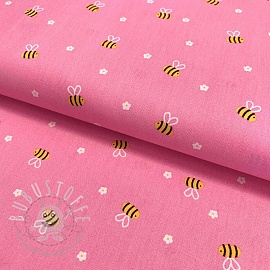Baumwollstoff Bee with flowers pink