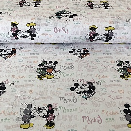 Baumwollstoff Mickey and Minnie True love digital print