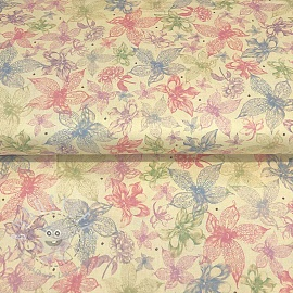 Baumwollstoff MIDNIGHT GARDEN Sketched floral cream