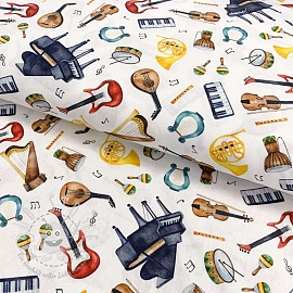 Baumwollstoff Musical instruments digital print