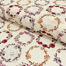 Cotton voile Bagatelle circles malva