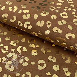 Dekostoff Leopard prints brown metallic premium