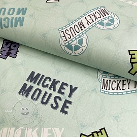 Dekostoff Mickey Mouse Movie banner green digital print