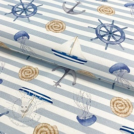 Dekostoff Sail away baby blue digital print
