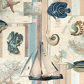 Dekostoff Sailing vintage map digital print