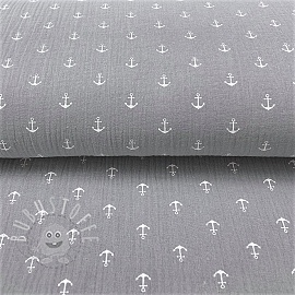 Double gauze/muslin Anchor grey white