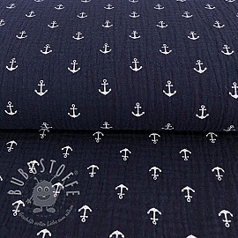 Double gauze/musselin Anchor navy/white