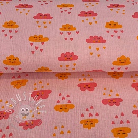 Double gauze/muslin Cute cloud rose