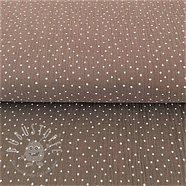 Double gauze/musselin Dots taupe/white