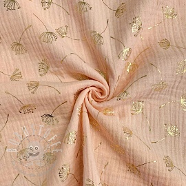Double gauze/muslin FOIL Dandelion light salmon