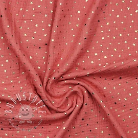 Double gauze/muslin Foil stars soft red gold