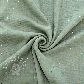 Double gauze/muslin Foil stripes mint gold