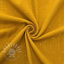 Double gauze/muslin Foil stripes ochre gold