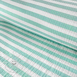 Double gauze/muslin STRIPES aqua