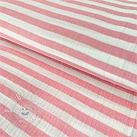 Double gauze/muslin STRIPES dark pink