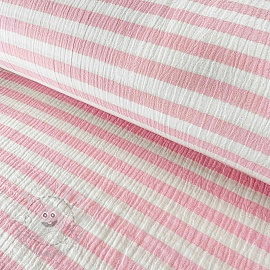 Double gauze/muslin STRIPES light pink