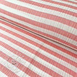 Double gauze/muslin STRIPES red
