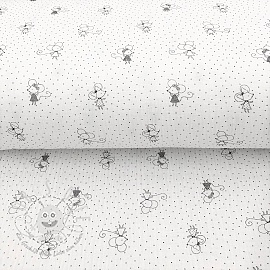 Double gauze/muslin Sweet mouse white