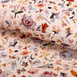 Double gauze/musselin Aqua floral light salmon digital print