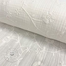 Double gauze/musselin Embroidery Clover off white