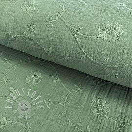 Double gauze/musselin Embroidery Clover old green