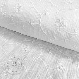 Double gauze/musselin Embroidery Clover white