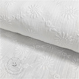 Double gauze/musselin Embroidery Daisy white
