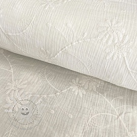 Double gauze/musselin Embroidery Leaf off white