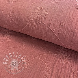 Double gauze/musselin Embroidery Leaf old pink