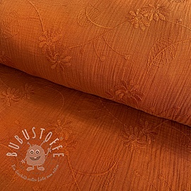 Double gauze/musselin Embroidery Leaf rust