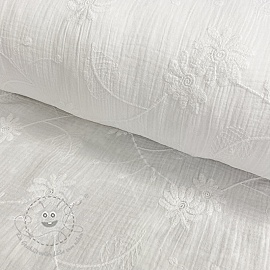 Double gauze/musselin Embroidery Leaf white