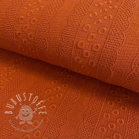 Double gauze/musselin Embroidery Ornament rust