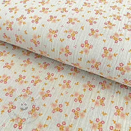 Double gauze/musselin Sweet flowers light grey