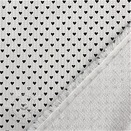 Frottee Waffelpiqué Hearts white black