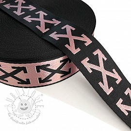 Gurtband 3,5 cm Cross light pink