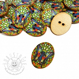 Holzknopf Butterfly multi