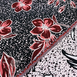 Jacquard Flowers red