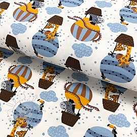 Jersey Air balloon with animals old blue