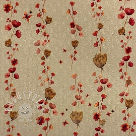 Jersey pointoille Gaia Aqua little flowers digital print