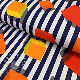 Jersey Blocks and stripes navy/yellow digital print