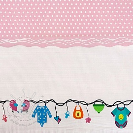 Jersey Childhood light pink border digital print