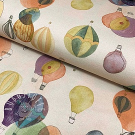 Jersey GOTS Air balloons cream digital print