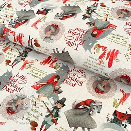 Jersey Little red riding hood off white digital print