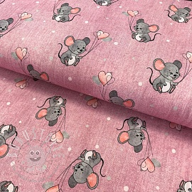 Jersey Mouse with hearts melange pink digital print