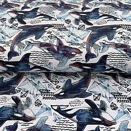 Jersey Origami whales digital print