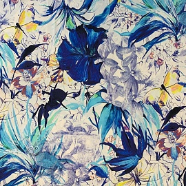 Jersey viscose Aquarel flowers blue