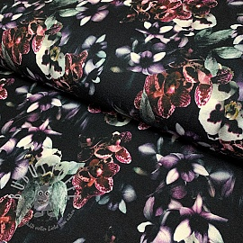 Jersey viscose Orchids black