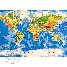 Jersey World map panel digital print