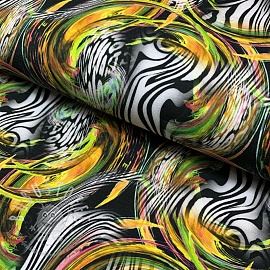 Jersey Zebra bubble yellow digital print