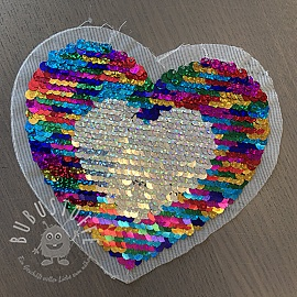 Pailletten reversibel Heart mini multi silver